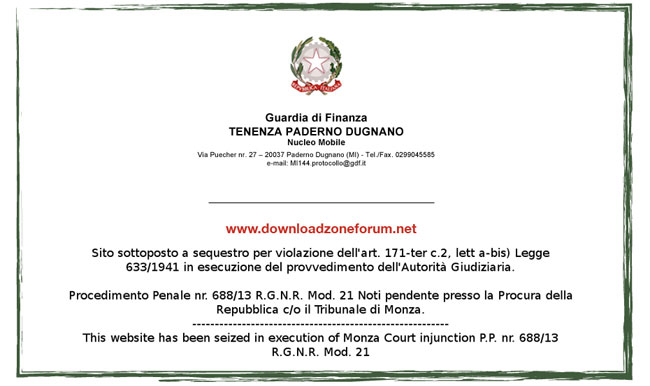 Finanza: sequestrato DownLoadZoneForum, il sito italiano pirata