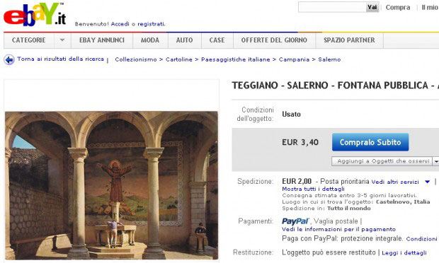 Totò truffa: vendesi fontana di Teggiano su eBay.it