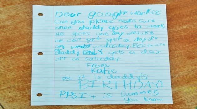 Figlia di un dipendente di Google chiede le ferie per il papà