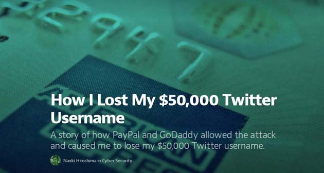 Sottratto account Twitter da 50 mila Dollari