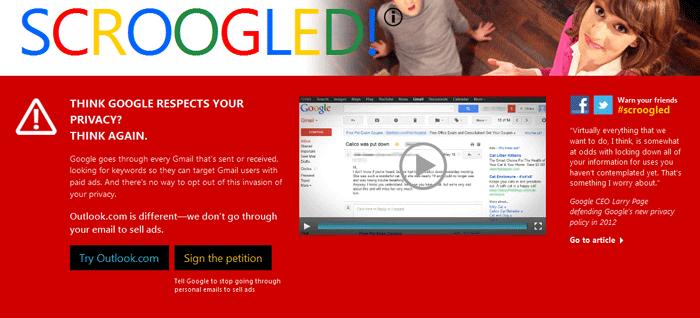 Microsoft: Scroogled contro Gmail