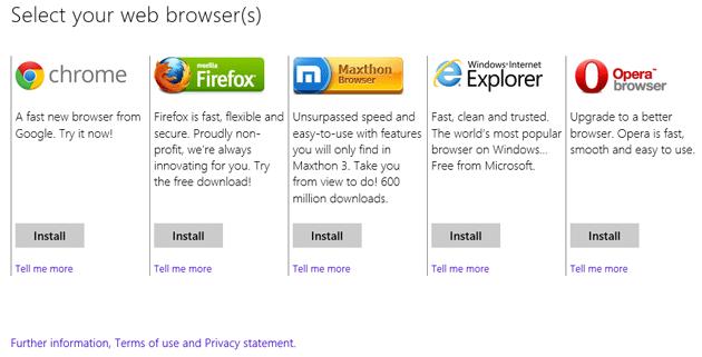 Windows 8 offrir� il ballot screen per i browser